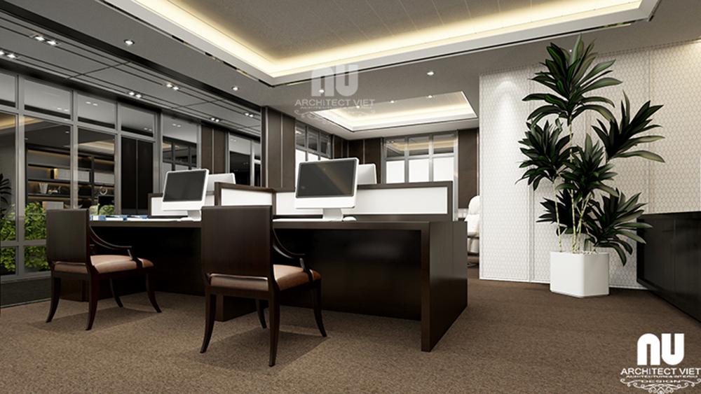 Thiết kế nội thất văn phòng làm việc công ty Việt Âu với gam màu trầm