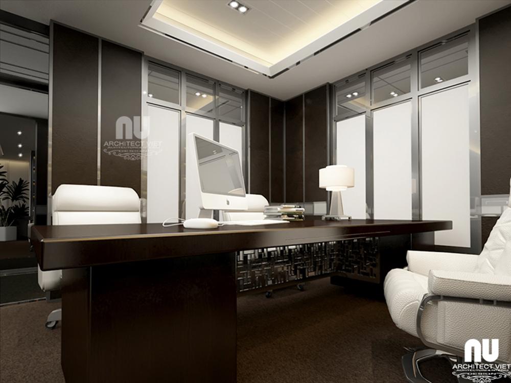 Thiết kế nội thất văn phòng làm việc công ty Việt Âu với 2 màu trắng đen