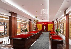 Thiết kế thi công nội thất phòng truyền thống Công An Thanh Trì1