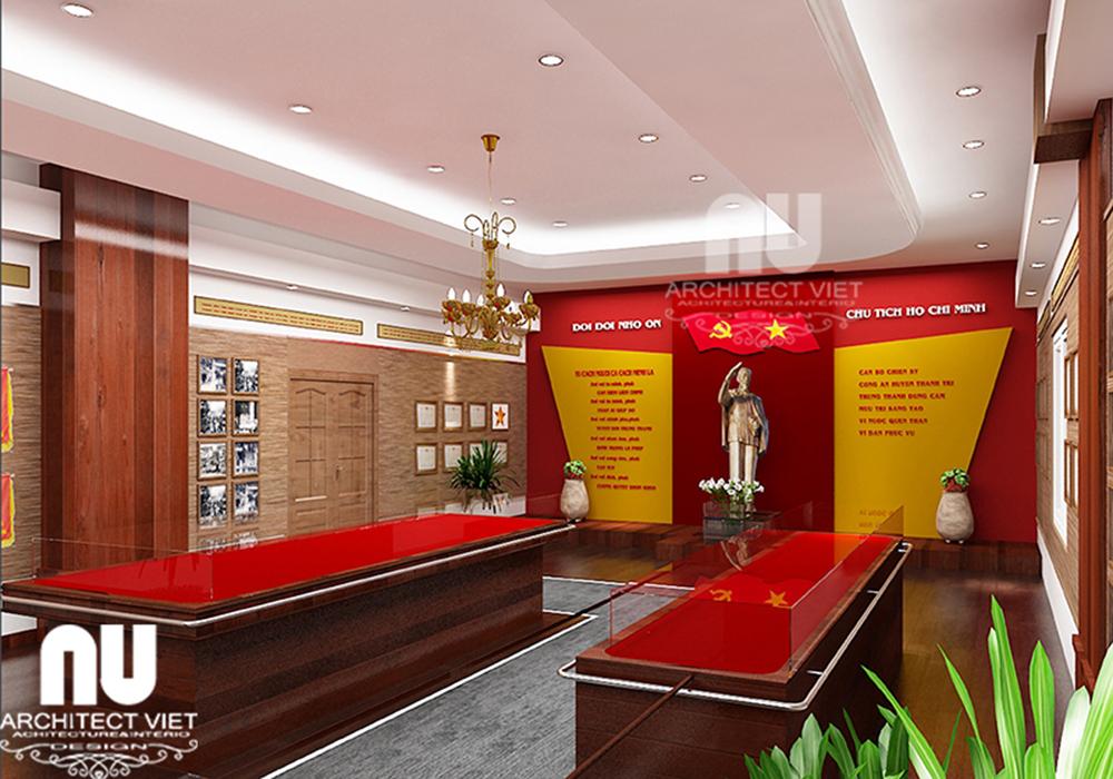 trang trí nội thất phòng truyền thống công an