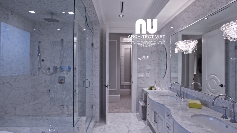 Thiết kế nội thất biệt thự với phòng tắm được ốp bằng đá