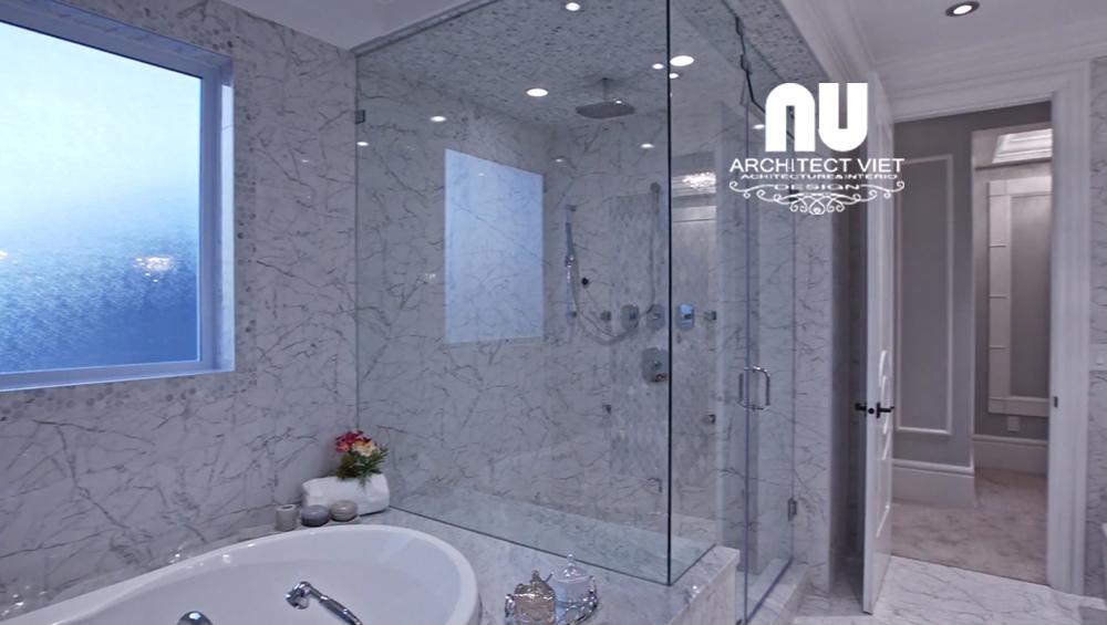 Thiết kế nội thất biệt thự Vinhomes Green Bay với phòng tắm đơn giản