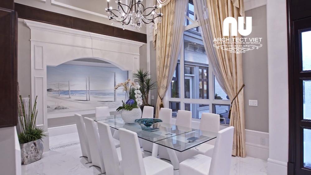 phòng ăn biệt thự vinhomes green bay được thiết kế đơn giản