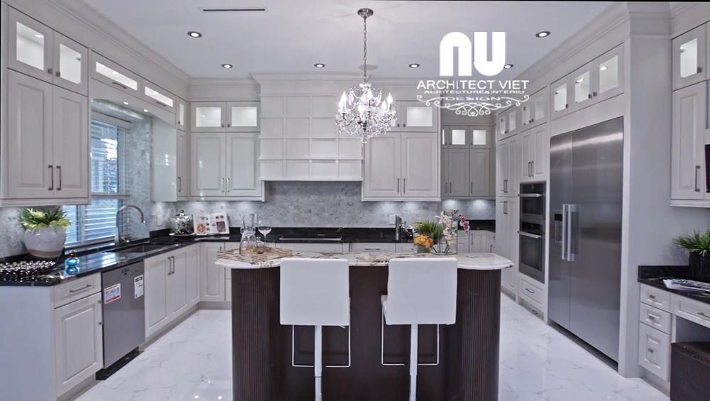 thiết kế nội thất biệt thự 300m2 với phòng bếp tone trắng