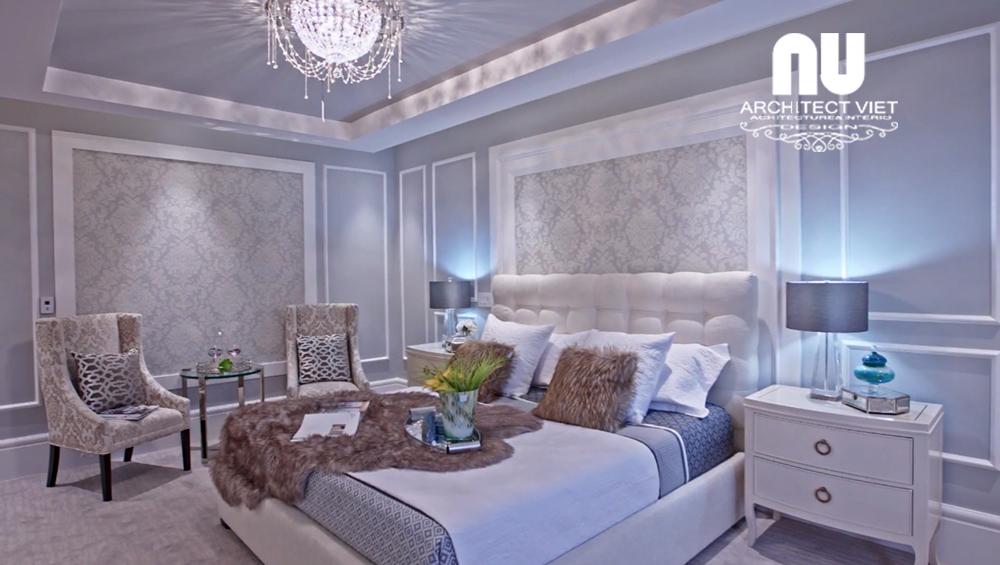 Nội thất phòng ngủ theo phong cách tân cổ điển trong biệt thự 300m2