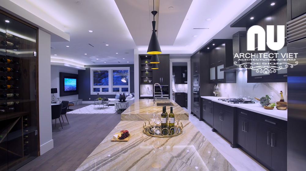 Thiết kế nội thất biệt thự hiện đại KĐT Văn Khê khu vực bếp nấu