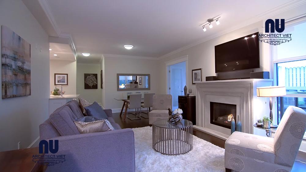 thiết kế nội thất phòng khách căn hộ penthouse phong cách bắc âu