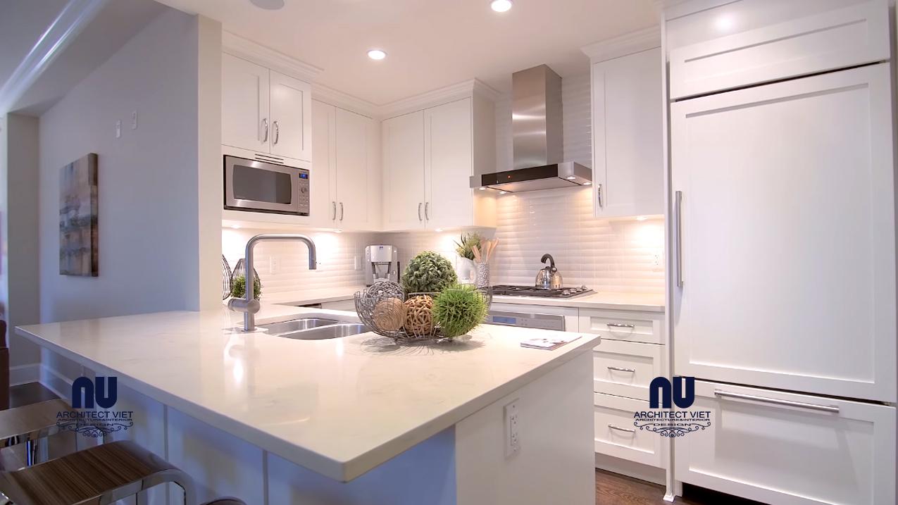 thiết kế nội thất phòng bếp căn hộ penthouse