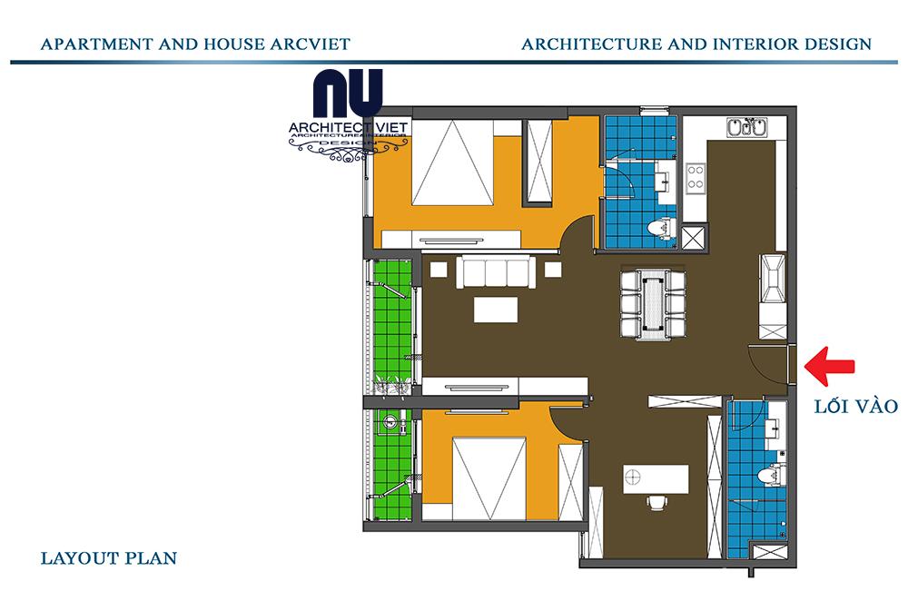 thiết kế nội thất chung cư 2 phòng ngủ 92m2