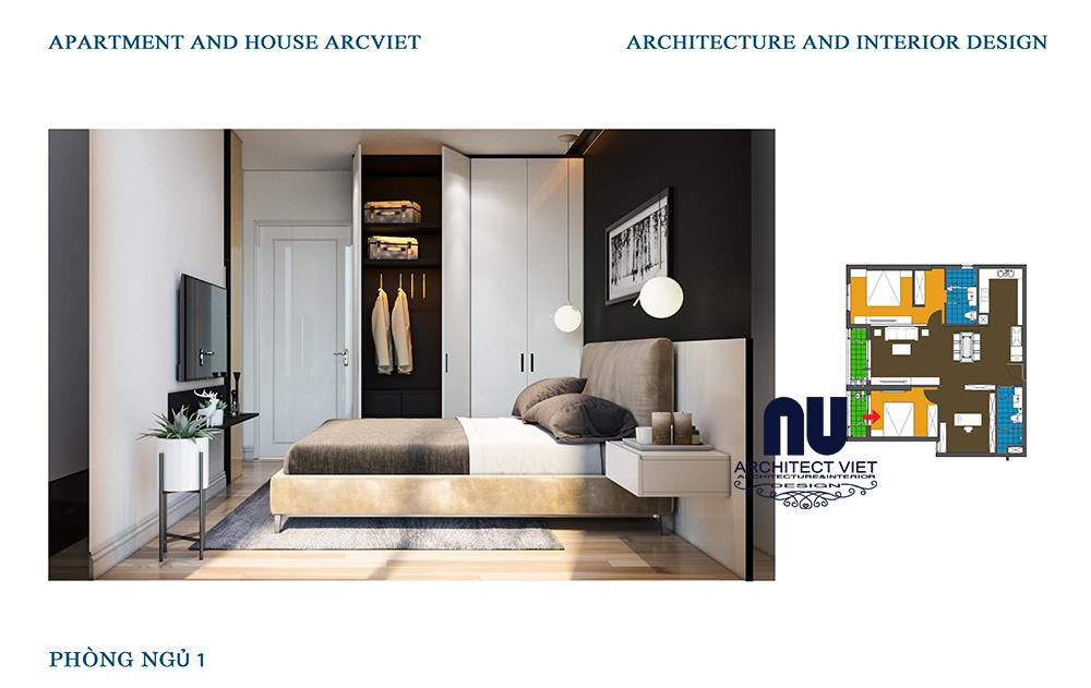 thiết kế phòng ngủ thông thoáng cho căn hộ chung cư 92m2