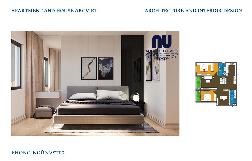 thiết kế nội thất phòng ngủ phong cách hiện đại tại gold mark