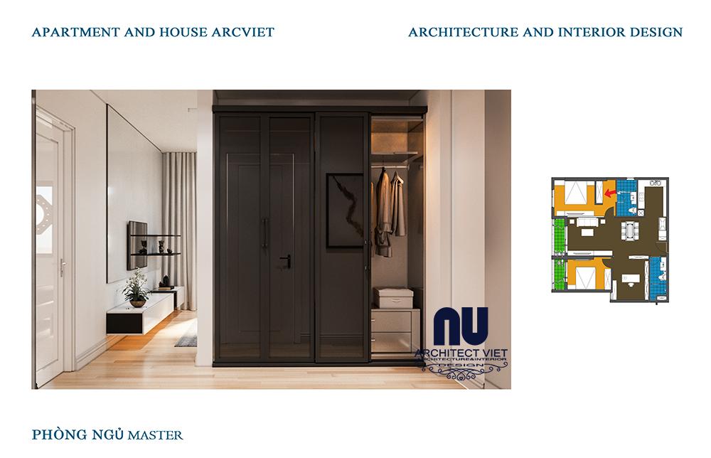 thiết kế nội thất phòng ngủ trong căn hộ chung cư 92m2