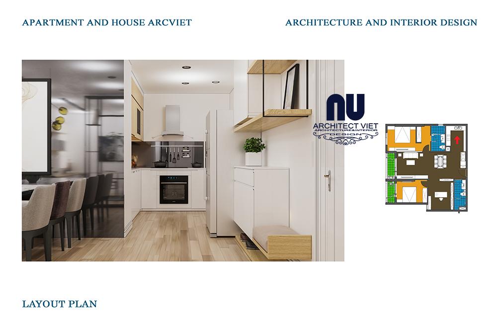 thiết kế nội thất căn bếp chung cư 92m2