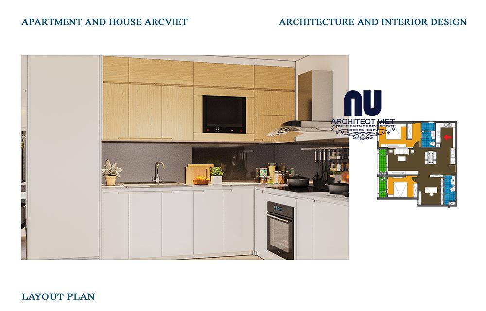 phòng bếp hiện đại trong căn bếp chung cư 92m2