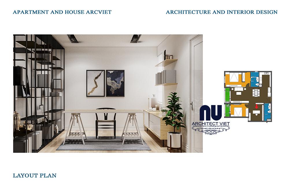 thiết kế nội thất phòng làm việc tại nhà trong căn hộ chung cư 92m2