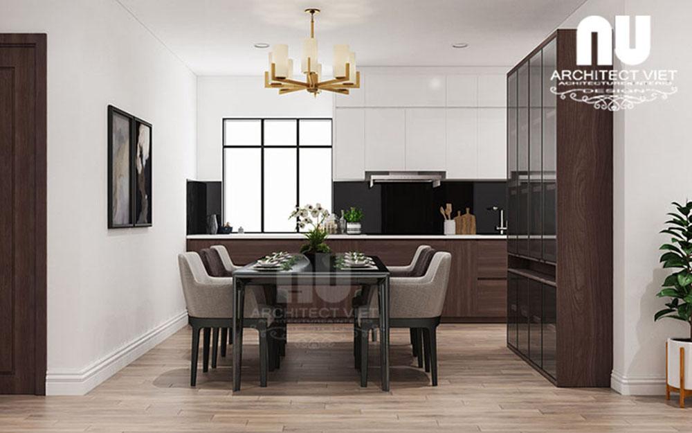 phòng bếp và phòng ăn được thiết kế mở trong căn hộ chung cư 170m2