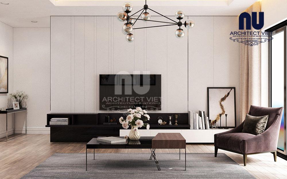 không gian nội thất phòng khách trong căn hộ chung cư hiện đại 170m2