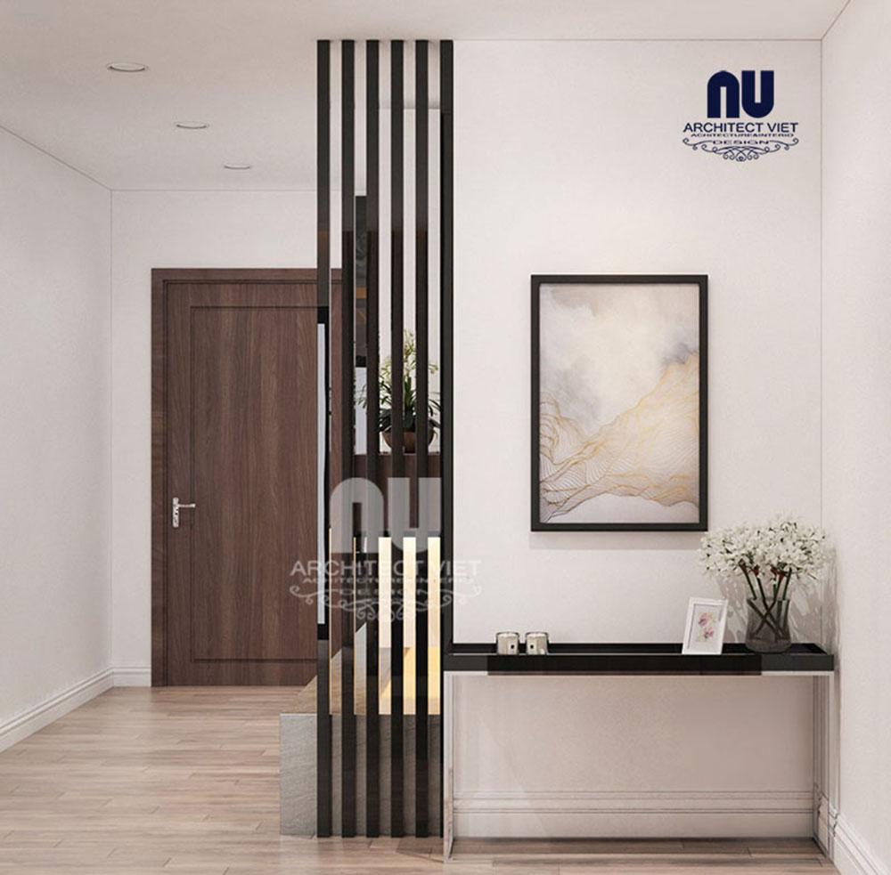 trang trí nội thất khu vực cửa ra vào căn hộ chung cư 170m2