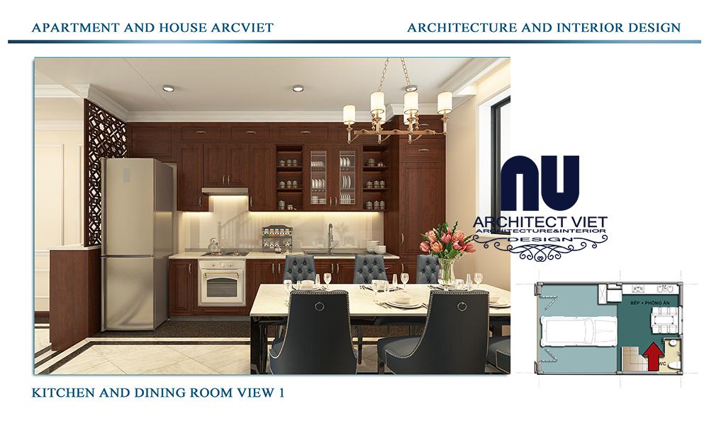 Thiết kế nội thất nhà phố 4 tầng Đội Cấn Ba Đình Hà Nội với không gian bếp và phòng ăn đẹp