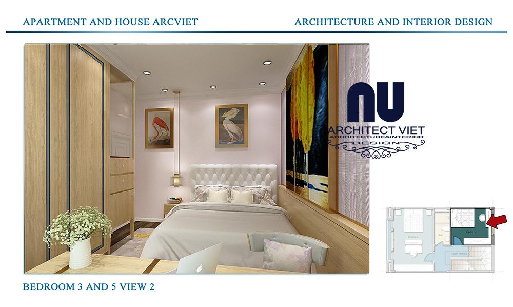 Thiết kế nội thất nhà phố 4 tầng Đội Cấn Ba Đình Hà Nội với phòng ngủ cho khách