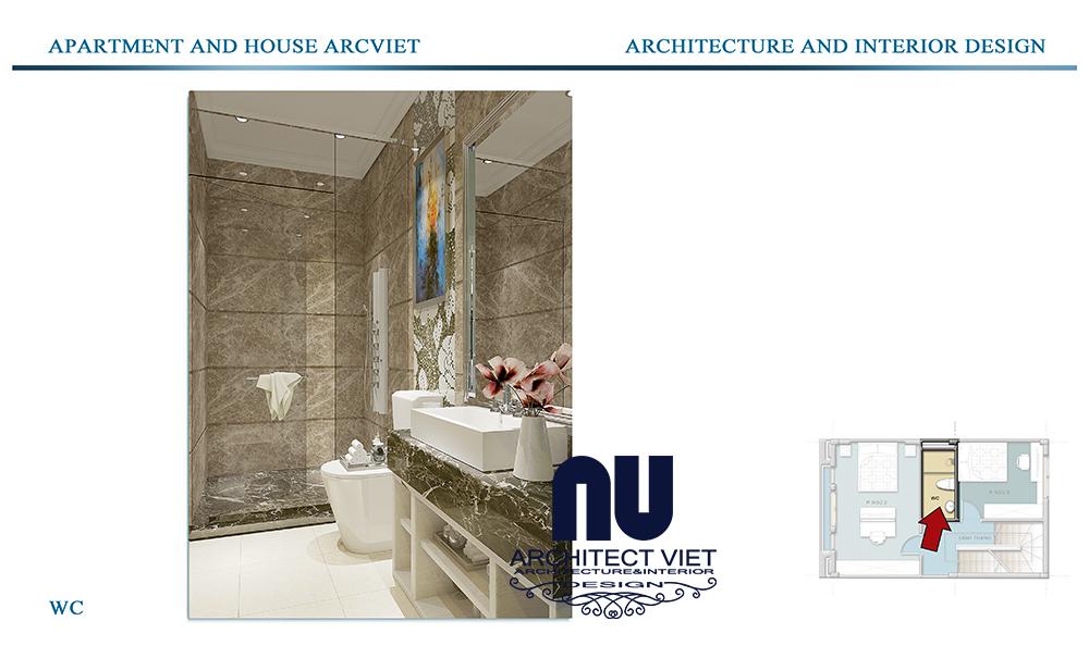 Thiết kế nội thất nhà phố 4 tầng Đội Cấn Ba Đình Hà Nội với phòng tắm hiện đại