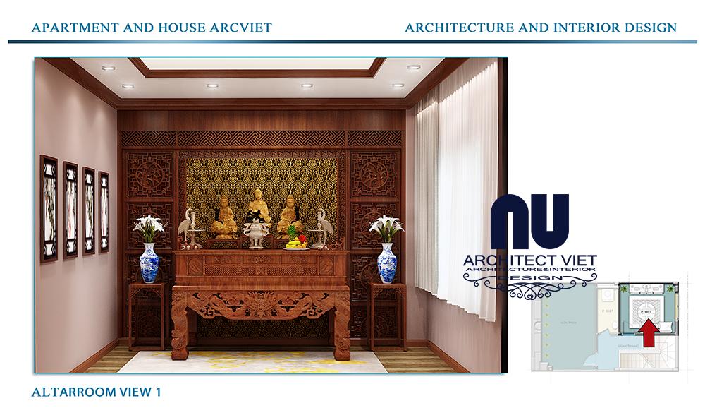 Thiết kế nội thất nhà phố 4 tầng Đội Cấn Ba Đình Hà Nội với phòng thờ đẹp