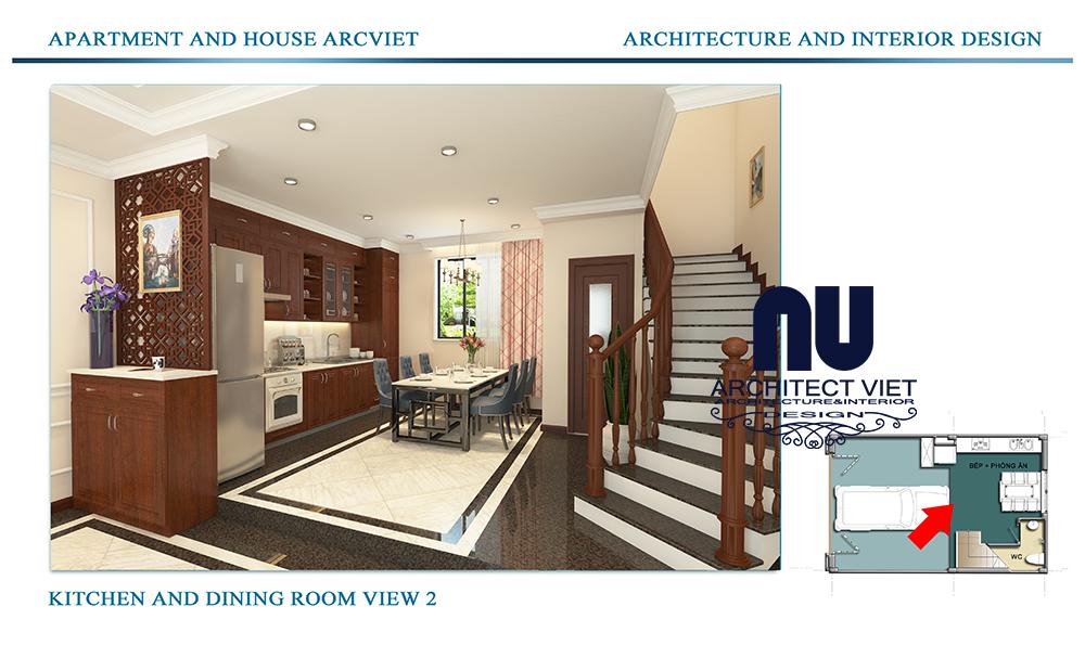 Thiết kế nội thất nhà phố 4 tầng Đội Cấn Ba Đình Hà Nội với bếp và phòng ăn đẹp