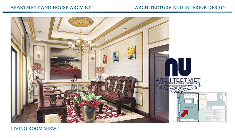 Thiết kế nội thất nhà phố 4 tầng Đội Cấn Ba Đình Hà Nội với phong cách cổ điển