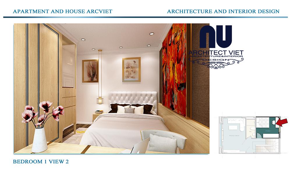 Thiết kế nội thất nhà phố 4 tầng Đội Cấn Ba Đình Hà Nội với phòng ngủ bố mẹ đơn giản sang trọng