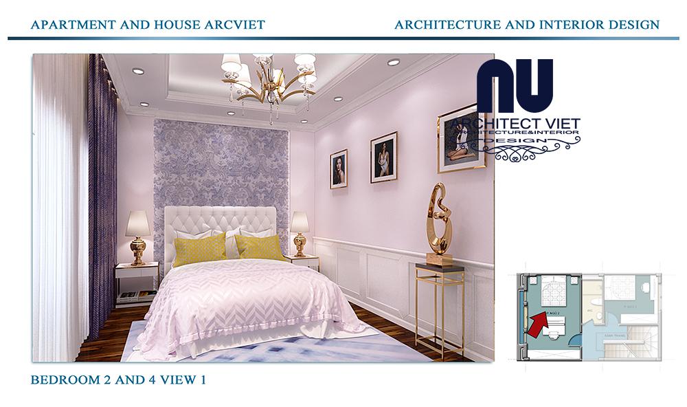 Thiết kế nội thất nhà phố 4 tầng Đội Cấn Ba Đình Hà Nội với phòng ngủ cho con gái