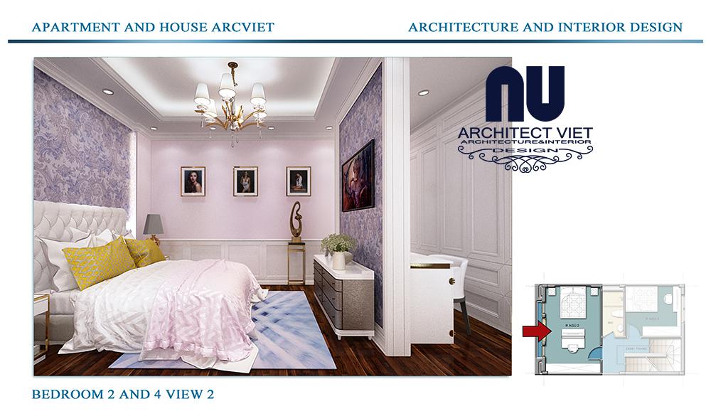 Thiết kế nội thất nhà phố 4 tầng Đội Cấn Ba Đình Hà Nội với phòng ngủ cho gái đẹp