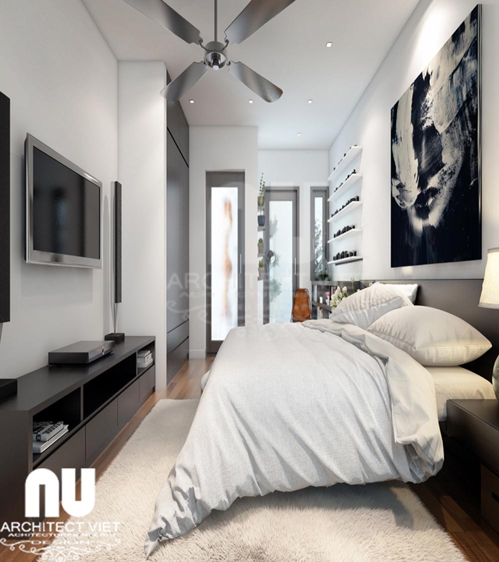 Thiết kế nội thất nhà phố 4 tầng 30m2 phòng ngủ của con trai