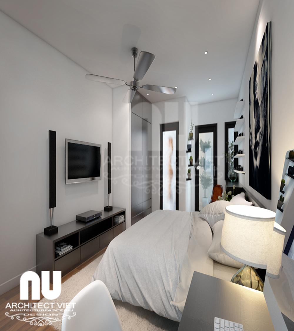 Thiết kế nhà 4 tầng 30m2 với phòng ngủ tiện nghi