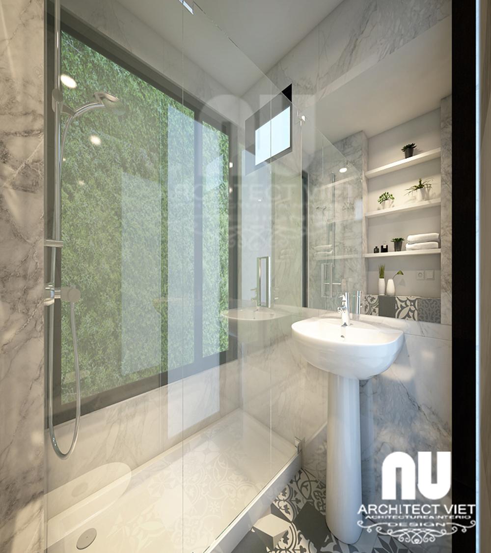 Thiết kế nhà 4 tầng 30m2 với phòng tắm hiện đại