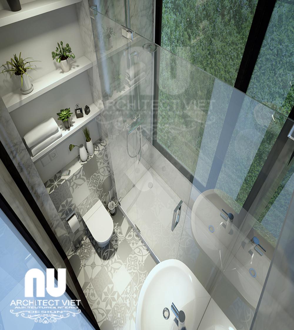 Thiết kế nhà phố 4 tầng 30m2 với phòng tắm hiện đại