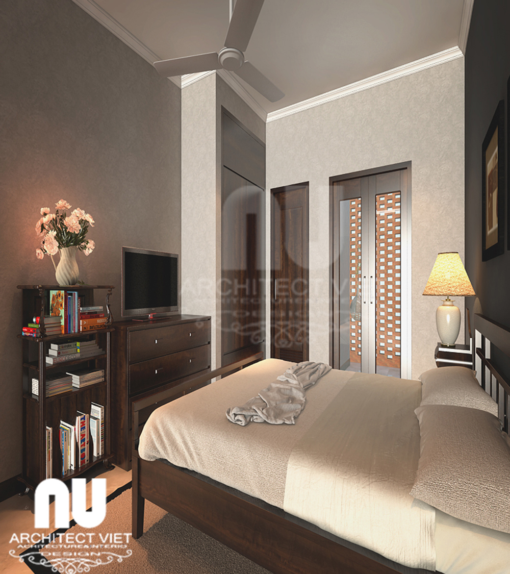 Thiết kế nội thất nhà phố 4 tầng 30m2 với phòng ngủ nhỏ
