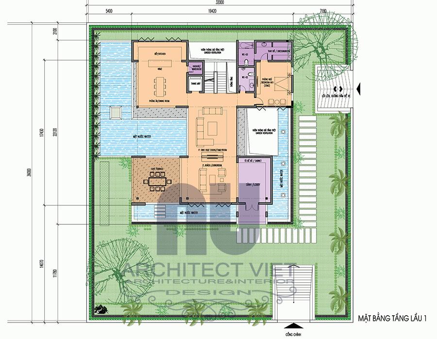 Mẫu biệt thự 3 tầng đẹp có sân vườn bể bơi111