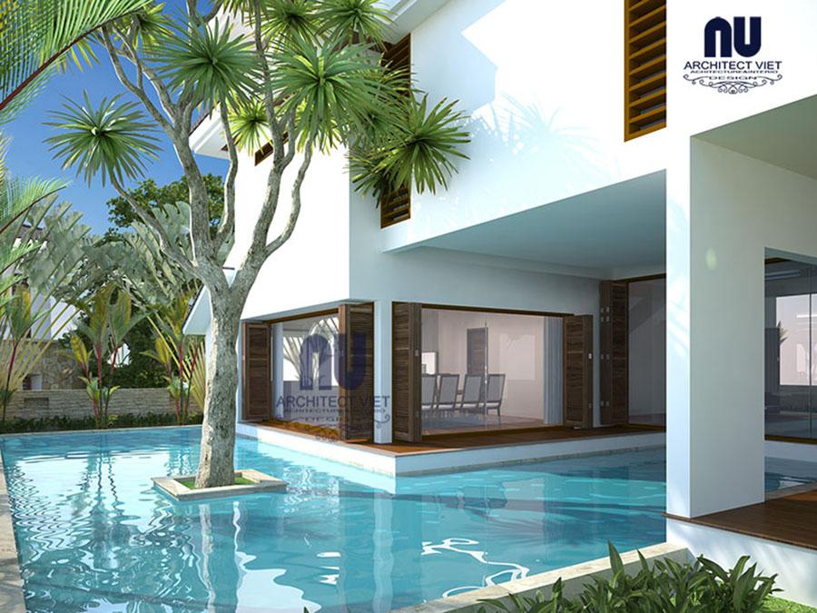 view bể bơi ngoài trời biệt thự hiện đại 3 tầng