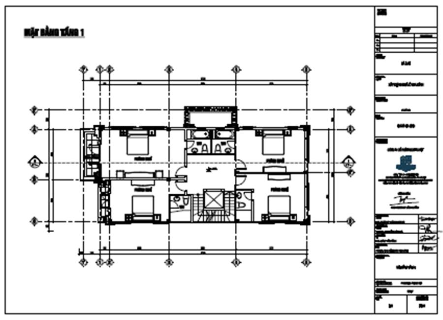 hình ảnh mặt bằng tầng 1 biệt thự 3 tầng 120m2