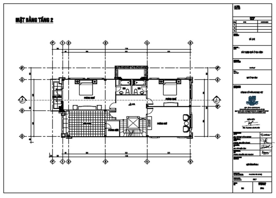 bố trí công năng tầng 2 biệt thự 3 tầng 120m2