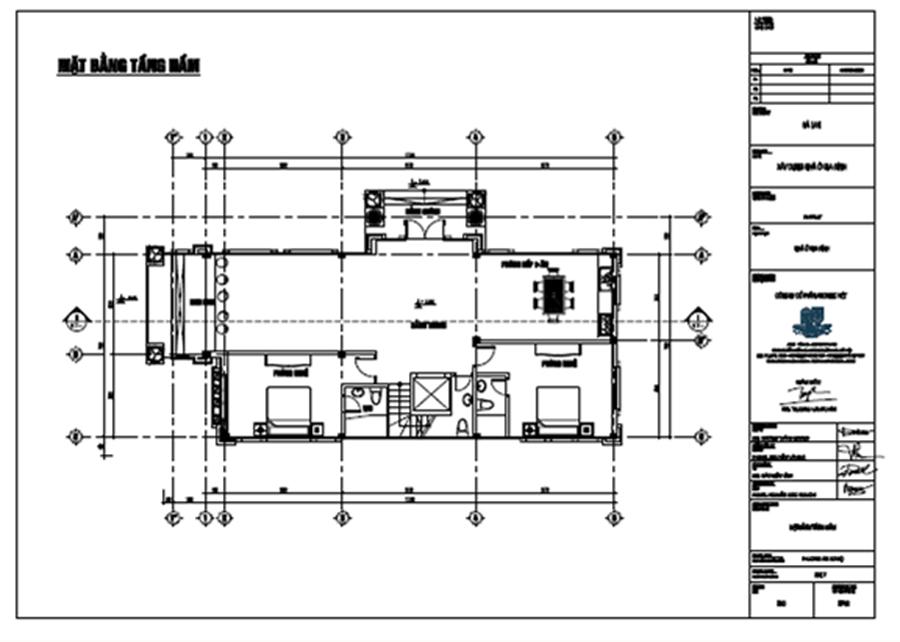 bố trí công năng tầng 3 biệt thự 3 tầng 120m2