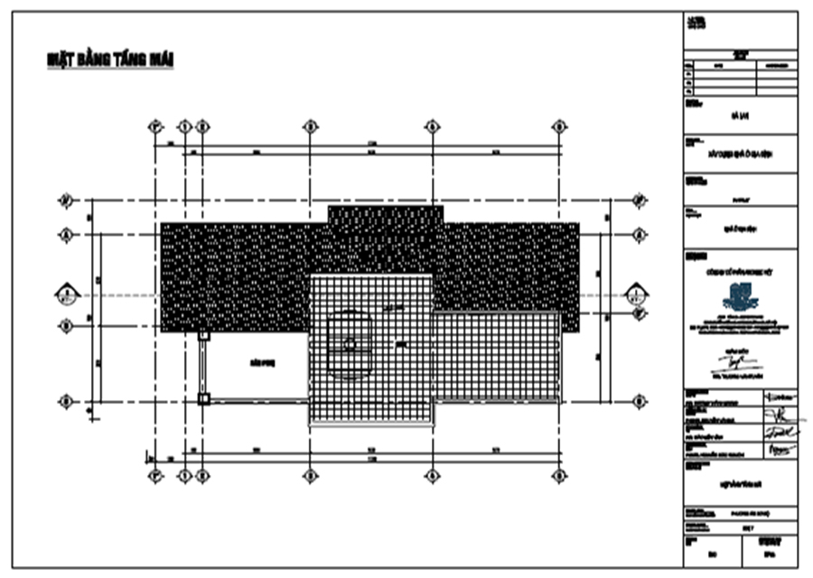 bản vẽ mặt bằng tầng mái biệt thự 3 tầng 120m2