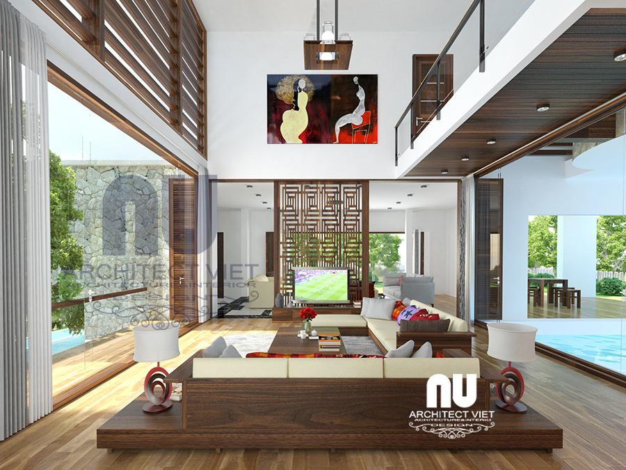Phòng khách đẹp với mẫu thiết kế nội thất biệt thự hiện đại 280m2