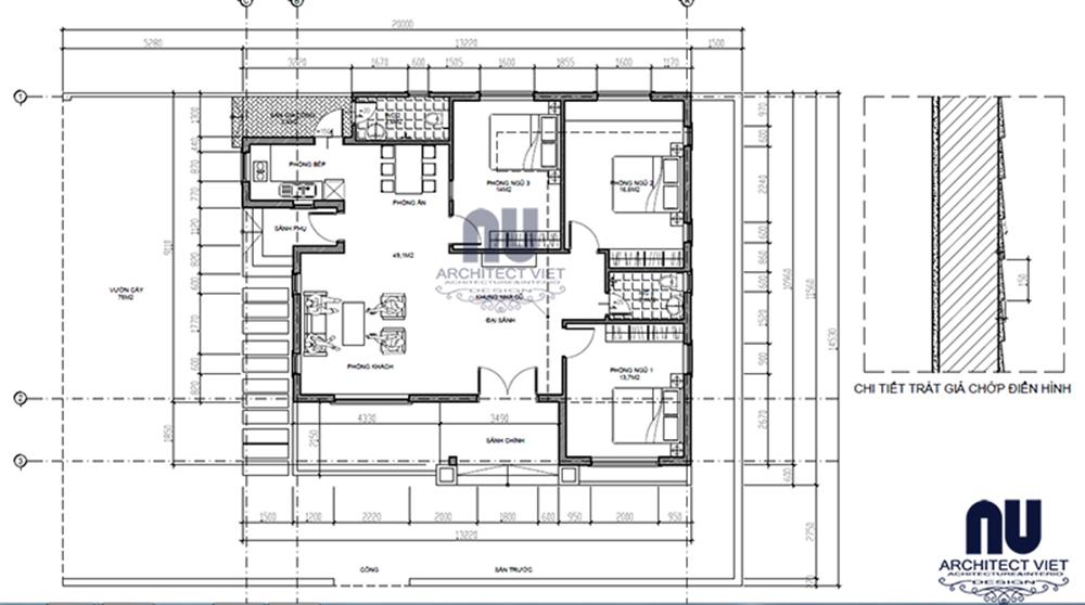 Thiết kế biệt thự nhà vườn 1 tầng tại Quận Tây Hồ2