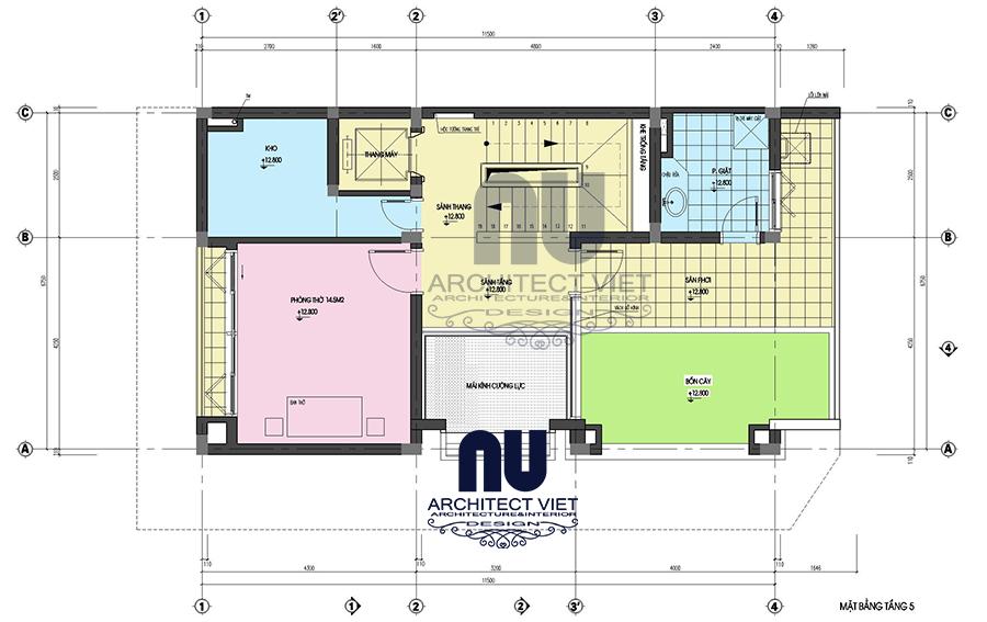 Thiết kế nhà ở 5 tầng đẹp 7x12m10