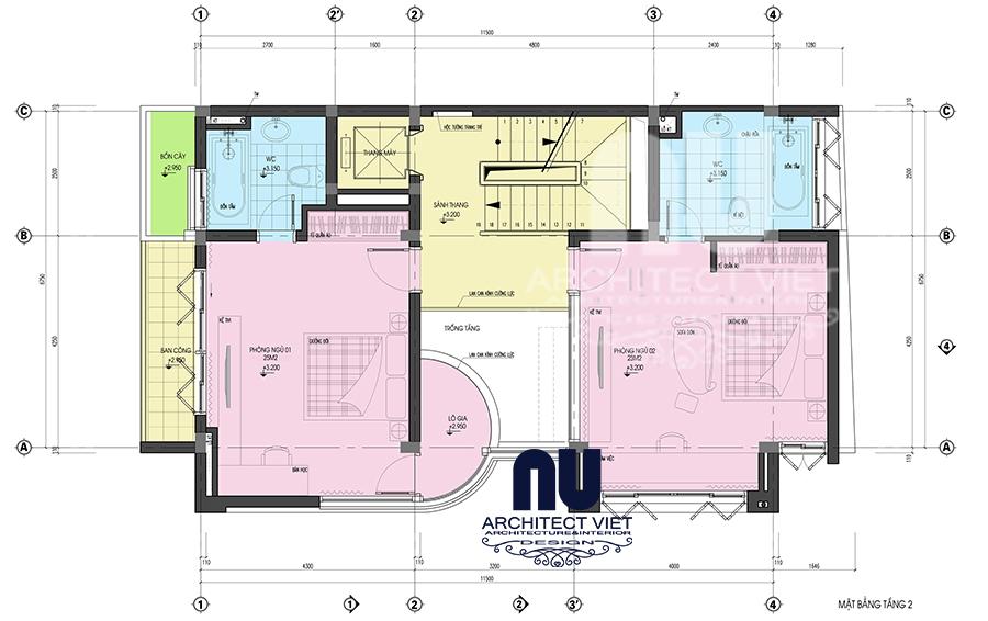 thiết kế nội thất nhà phố hiện đại 5 tầng 78m2 tại Cầu Giấy – bố trí mặt bằng tầng 2