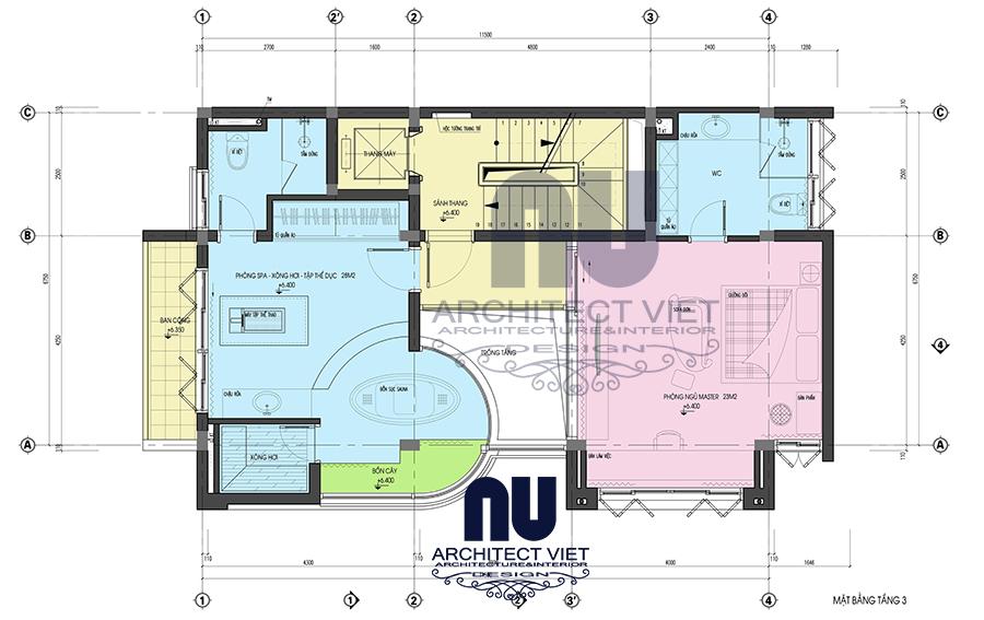 thiết kế nội thất nhà phố hiện đại 5 tầng 78m2 tại Cầu Giấy – mặt bằng tầng 3