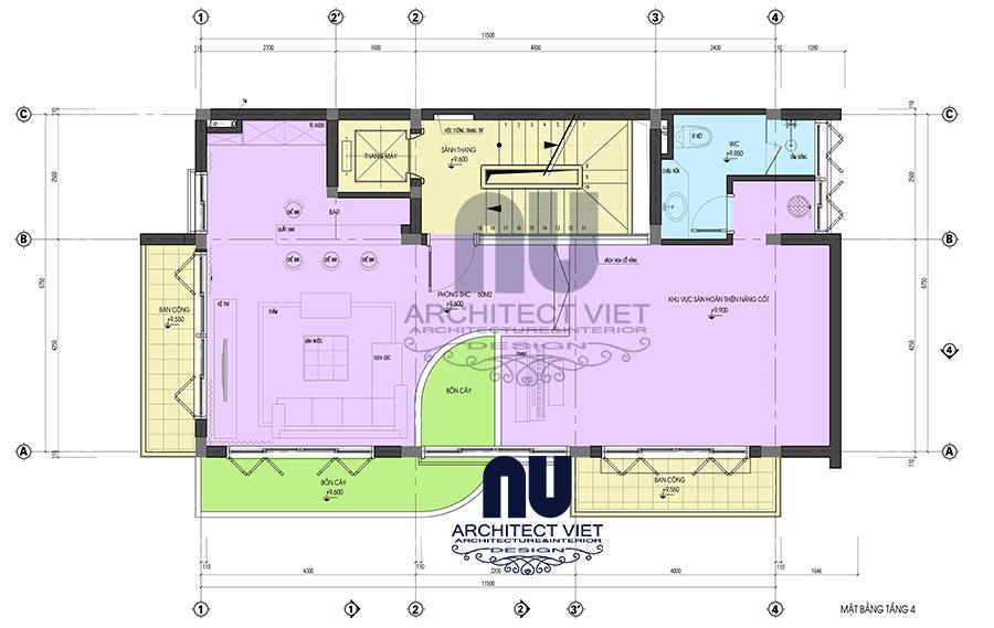 thiết kế nội thất nhà phố hiện đại 5 tầng 78m2 tại Cầu Giấy – mặt bằng tầng 4