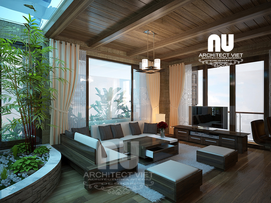 thiết kế nội thất nhà phố hiện đại 5 tầng 78m2 tại Cầu Giấy – không gian sinh hoạt chung rộng