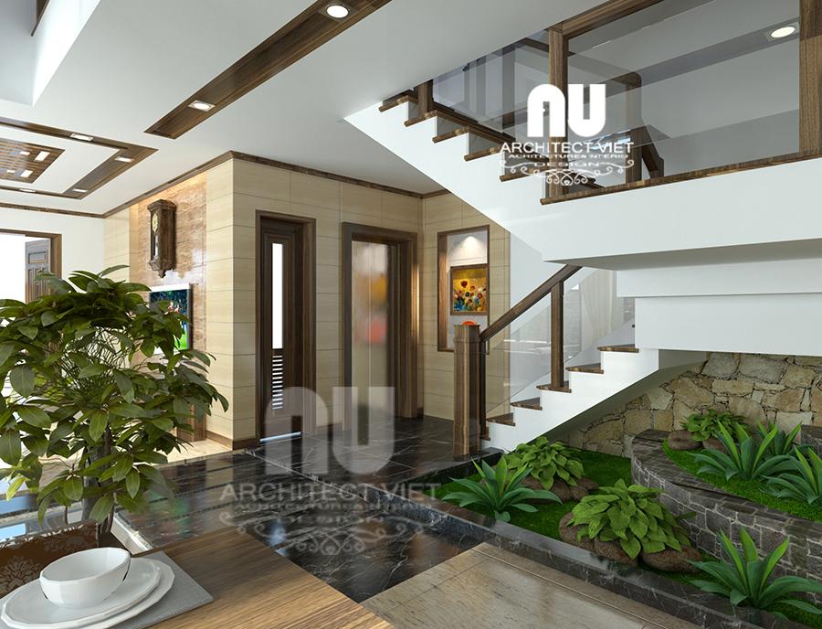 thiết kế nội thất nhà phố hiện đại 5 tầng 78m2 tại Cầu Giấy – với hệ thống cây xanh được bố trí quanh nhà